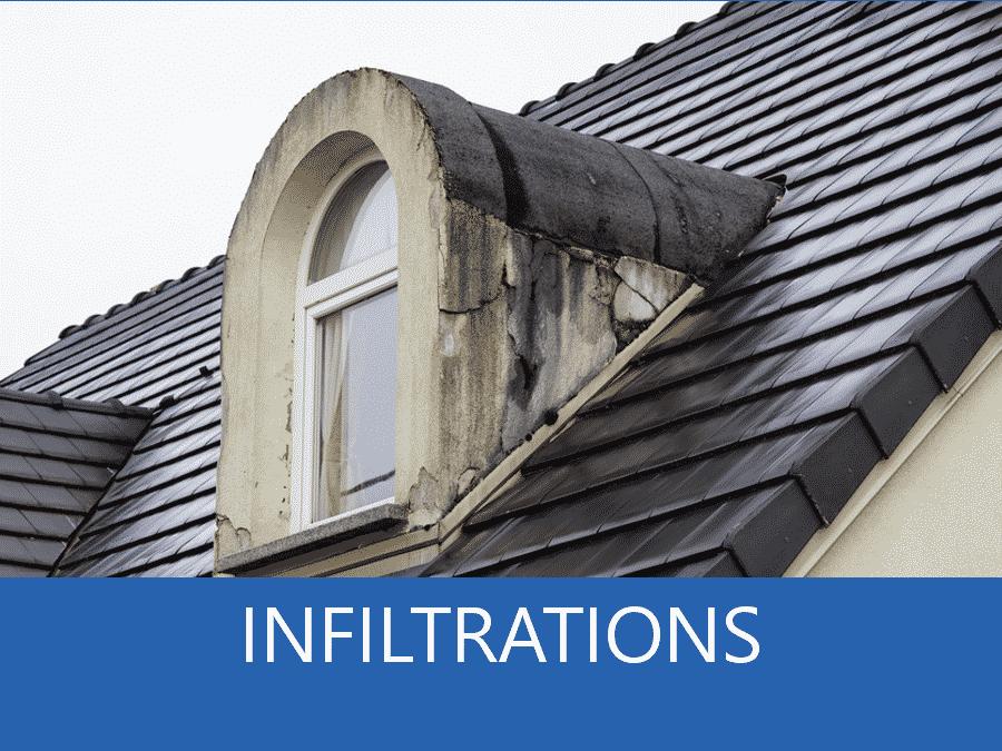 infiltrations, problème d'infiltration, infiltration toiture,